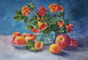Евгений Квавадзе. Натюрморт с персиками.  2014