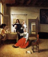 Питер де Хох. Дама с двумя кавалерами