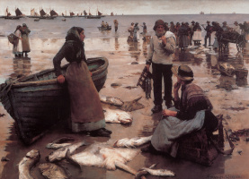 Stanhope Alexander Forbes. Fish trade on Cornish beach