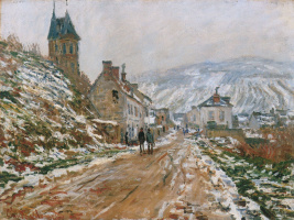 The road in Vétheuil in winter
