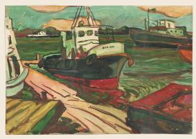 Series of watercolors Astrakhan, 2. Boat.