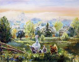 Elena Nikolaevna Zorina. Morning in the village