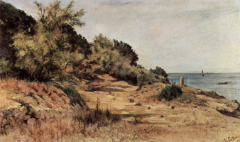 Giovanni Fattori. Forested beach