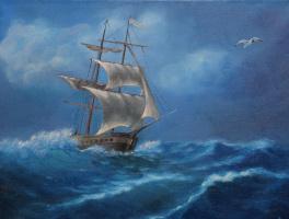 Мила Канеева. Корабль в море (свободная копия)