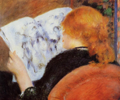 Pierre-Auguste Renoir. Young woman reads illustrated journal