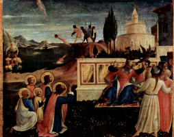 Fra Angelico. The Central altar of saints Cosmas and Damian from the Dominican convent of San Marco in Florence, the base of the triptych: Martyrdom