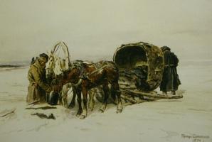 "Petr Petrovich Sokolov. At the waterhole"" 1874"