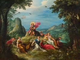Франс Франкен Младший. Аполон и музы на горе Парнас. (совм с мастерской и мастерской Abraham Govaerts и Alexander Keirincx) Около 1620
