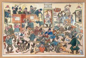 Josef Lada. The fight in the tavern