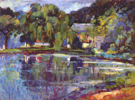 Unknown artist. Old pond at the mill