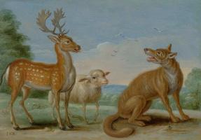 Ян ван Кессель Старший. Волк, олень и овечка