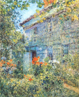 Childe Hassam. Old house and garden, East HAMPTON