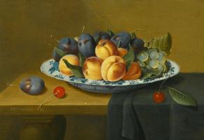 Якоб ван Хюльсдонк. Натюрморт с персиками, сливами и виноградом