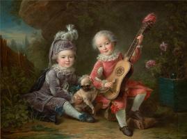 Франсуа Юбер Друэ. Дети маркиза де Бетюн играют с собакой