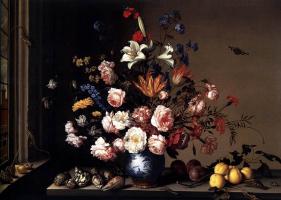 Балтазар ван дер Аст. Ваза с цветами на столе у окна