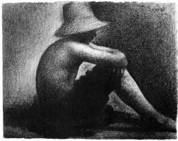 Жорж Сёра. Сидящий мальчик в соломенной шляпе