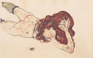 Эгон Шиле. Лежащая обнаженная