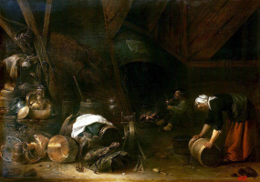 Херман Младший Сафтлевен. Внутренний вид крестьянской хижины
