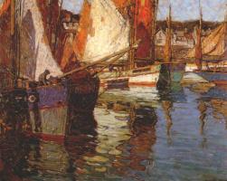 Эдгар Пейн. Бретонские лодки с тунцом. Конкарно, Франция