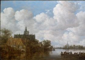 Ян ван Гойен. Речной пейзаж с паромом и церковью