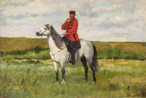 Alexander Eduardovich Mako. Cossack on a horse. The beginning of the twentieth century
