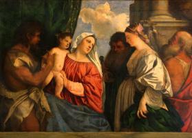 Тициан Вечеллио. Мадонна с Младенцем и четырьмя святыми, Иоанном Крестителем, Павлом, Марией Магдалиной и Иеронимом