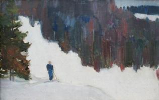 Георгий Григорьевич Нисский. Лыжник в лесу
