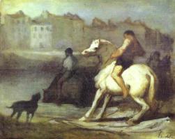 Оноре Домье. Всадник и собака