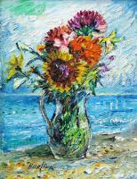Давид Давидович Бурлюк. Букет полевых цветов на фоне океана