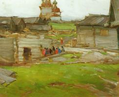 Abram Arkhipov. Landscape (Sketch with the frame)