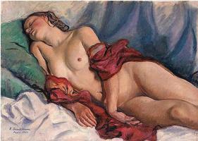 Зинаида Евгеньевна Серебрякова. Спящая обнаженная с красной шалью