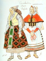Александр Яковлевич Головин. Эскиз двух женских костюмов