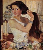 Зинаида Евгеньевна Серебрякова. За туалетом. Автопортрет.