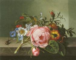Рашель Рюйш. Ветка розы с жуком и пчелой