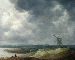 Jan van Goyen. Windmill by the river