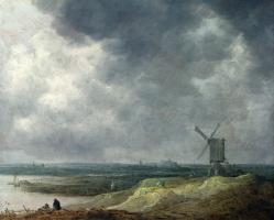 Ян ван Гойен. Ветряная мельница у реки