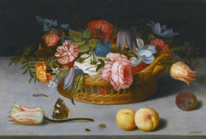 Baltazar van der Ast. Still life with flowers, peaches and a butterfly