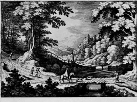Маттеус Мериан Старший. Два мостика в лесистом ущелье