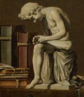 Питер Клас. Ванитас. Натюрморт с мальчиком, вытаскивающим занозу. Фрагмент 5. Скульптура мальчика, вытаскивающего занозу