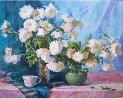 "Victoria Korkishko. ""White chrysanthemums"""