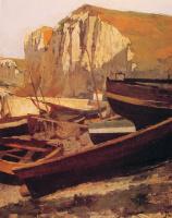 Жан-Поль Лоран. Лодки у подножия скалы в Нормандии