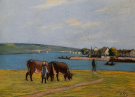 Alfred Sisley. Cows on the banks of the Seine at Saint-Mammes