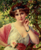 Emile Vernon. Girl with a rose in his hand