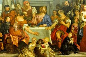 Paolo Veronese. Dinner at Emmaus. Fragment