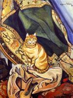 Сюзанна Валадон. Кот сидит на ткани