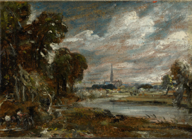 Salisbury Cathedral, Wiltshire, view from the meadow. Guildhall Art Gallery, London.