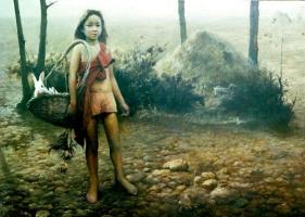 Ван Юкуи. Ребенок с кроликом в корзине