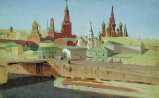 Архип Иванович Куинджи. Москва. Вид на Москворецкий мост, Кремль и храм Василия Блаженного