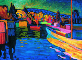 Wassily Kandinsky. Autumn landscape with boats