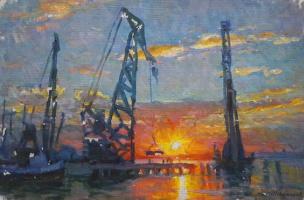 Павел Петрович Токмаков (1924-2002). Вечерние краны в одесском порту